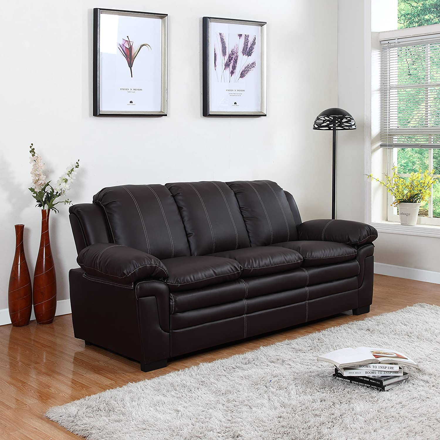Amazon Divano Roma Furniture Classic Bonded Leather Sofa Set