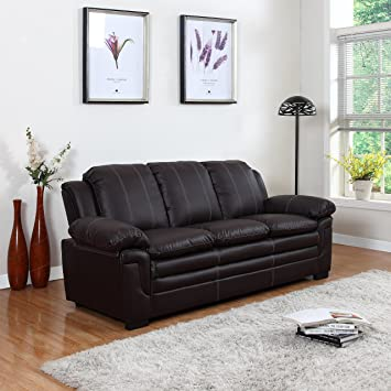 Amazon.Com: Divano Roma Furniture Classic Bonded Leather Sofa Set