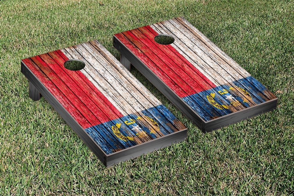 North Carolina Flag Weathered Cornhole Game Set