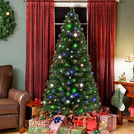 huge selection of 5a50a c3740 Best Choice Products 7-foot Pre-Lit Fiber Optic Artificial Christmas Pine  Tree with 280 UL-Certified 4-Color LED Lights, 8 Sequences, Foldable Stand,  ...