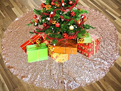 ak trading 52 rose gold christmas sequin tree skirt sparkly glittery sequin xmas