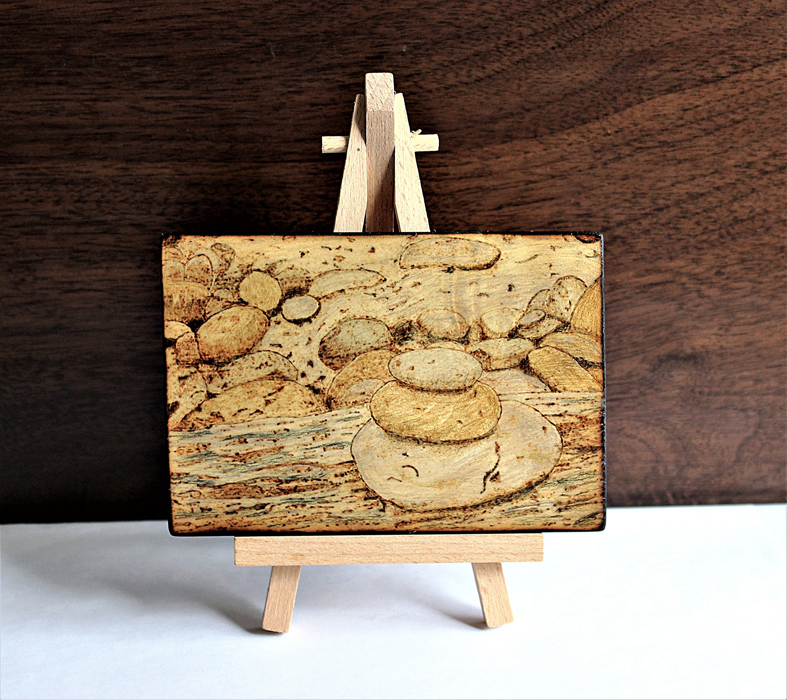 Wood Burned Cairn Stones Pyrography Small Woodburned Nature Rocky Shoreline Picture Desktop Art by Hendywood (Image #1)
