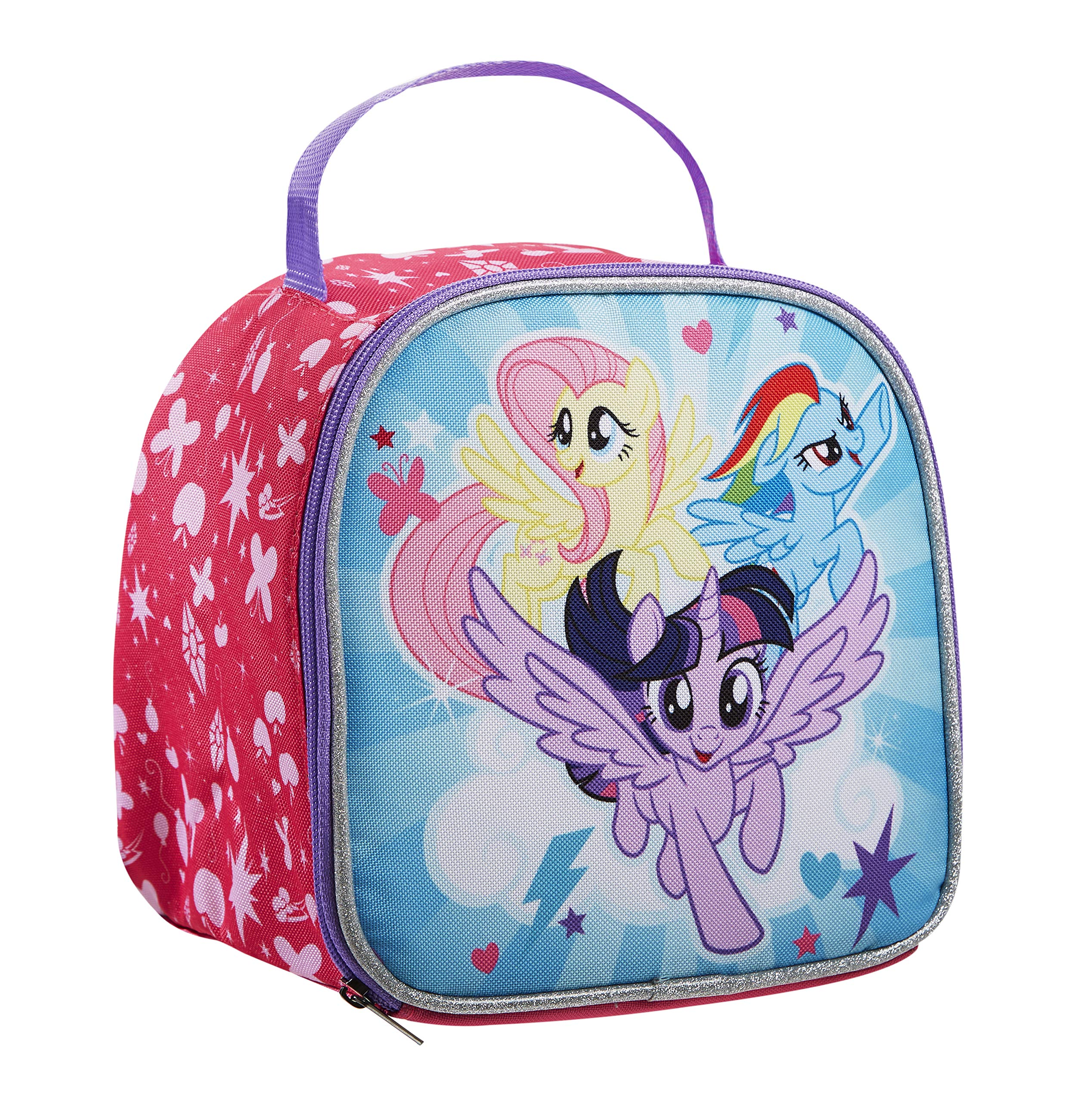 Fit & Fresh Kids' Aubrey Insulated Lunch Bag with Glitter Ice Pack and Full Zip Closure, Versatile School Lunch Box, My Little Pony