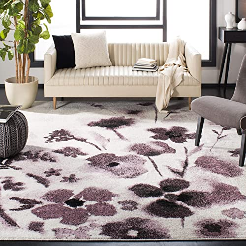 Safavieh Adirondack Collection ADR127L Ivory and Purple Vintage Floral Area Rug 8' x 10'