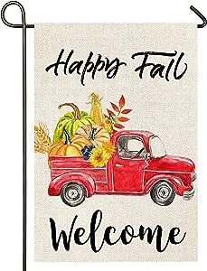 Atenia Happy Fall Truck Burlap Garden Flag, Double Sided Fall Truck Garden Outdoor Autumn Yard Flags (Garden Size - 12.5X18)