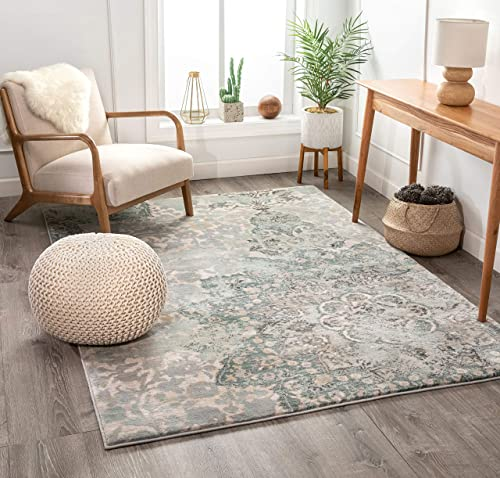 Well Woven Stella Blue Eclectic Medallion Modern Area Rug 8×11 7'10″ x 10'6″ Mint Blue Beige Distressed Oriental Plush Super Soft Carpet