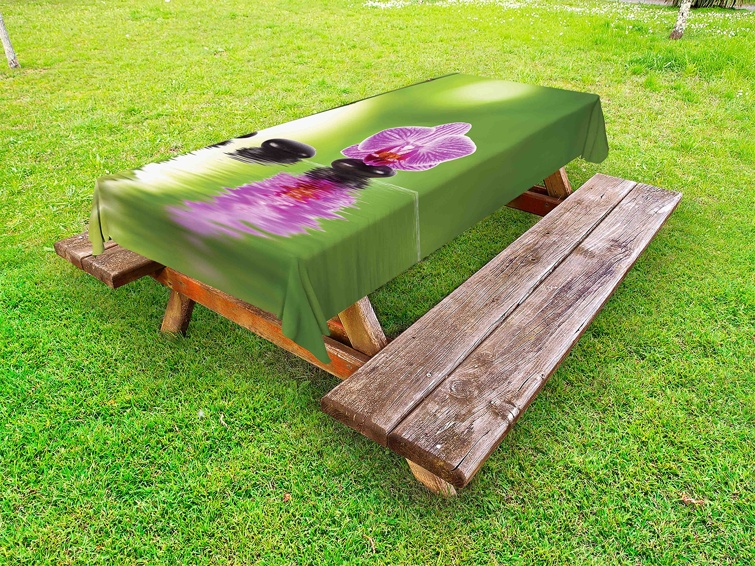 Lunarable Spa Outdoor Tablecloth, Spa Floral Summertime Theme Holidays Exotic Positiveness Lilac Bouquet Corsage, Decorative Washable Picnic Table Cloth, 58 X 120 inches, Lime Green Violet