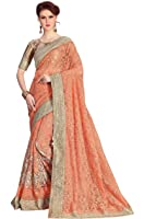 Nivah Fashion Women's Full Net Aary&Embroidery Work With Diamond's Orange Sari...K678