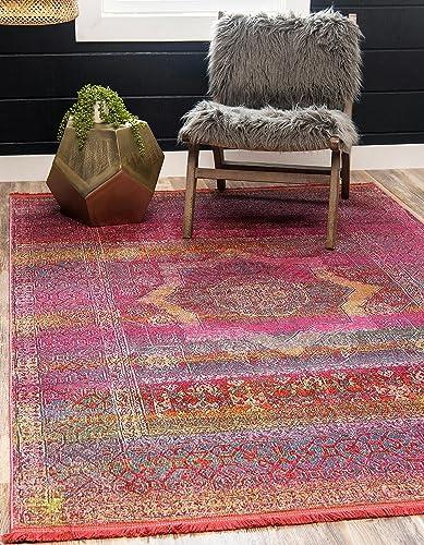 Unique Loom Baracoa Collection Bright Tones Vintage Traditional Pink Area Rug 8' x 10'