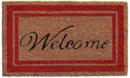 Calloway Mills 153031830WELC Border Welcome Doormat, 18 x 30 , Red