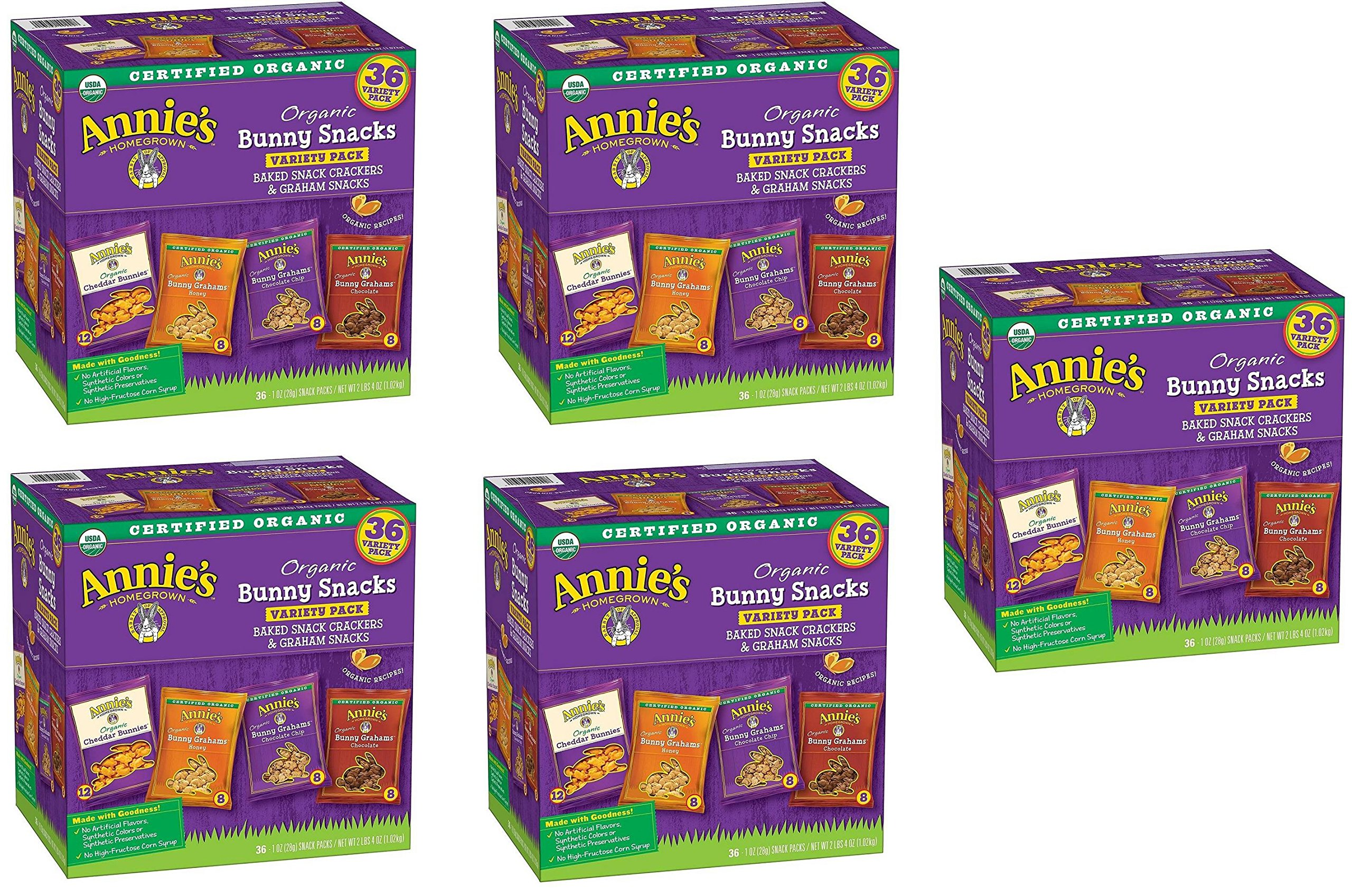 Annies Organic Variety Pack, Cheddar Bunnies and Bunny Graham Crackers Snack Packs, 36 Pouches, 1 oz Each huyARl, 5 Pack by Annie's Homegrown