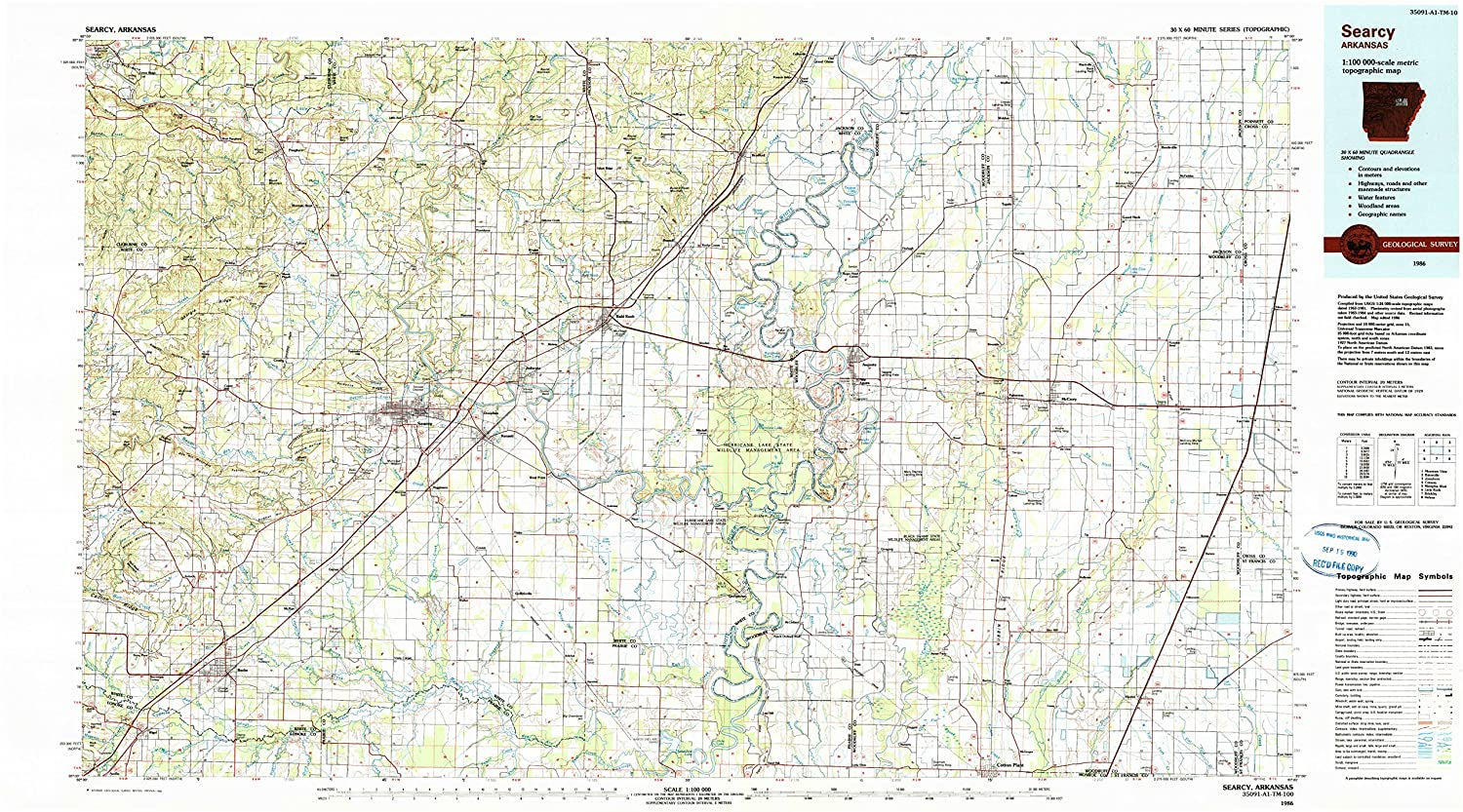 Amazon.com : YellowMaps Searcy AR topo map, 1:100000 Scale, 30 X 60 ...