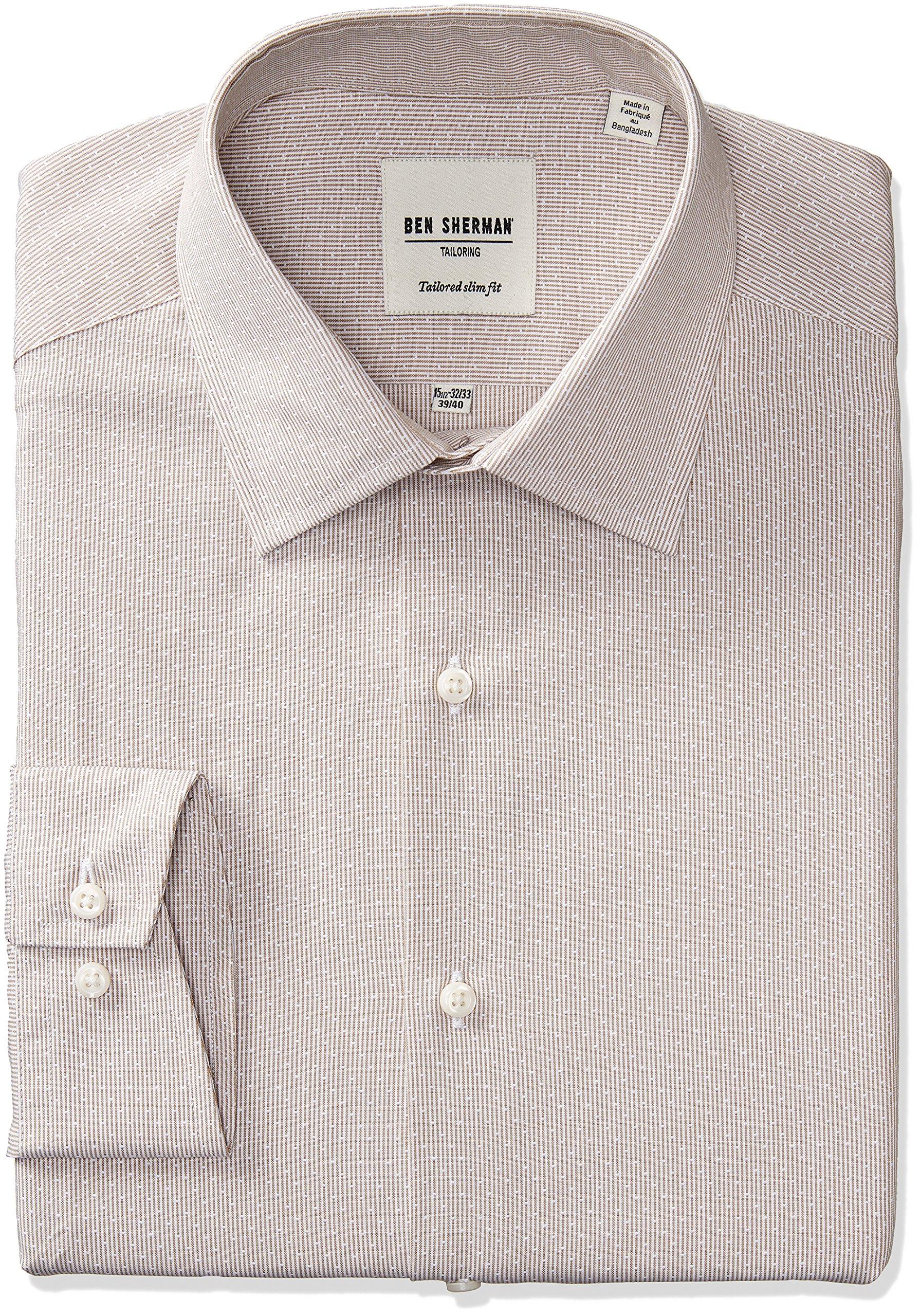 Ben Sherman Men's Slim Fit Dobby Stripe Spread Collar Dress Shirt, Tan, 15.5'' Neck 32''-33'' Sleeve