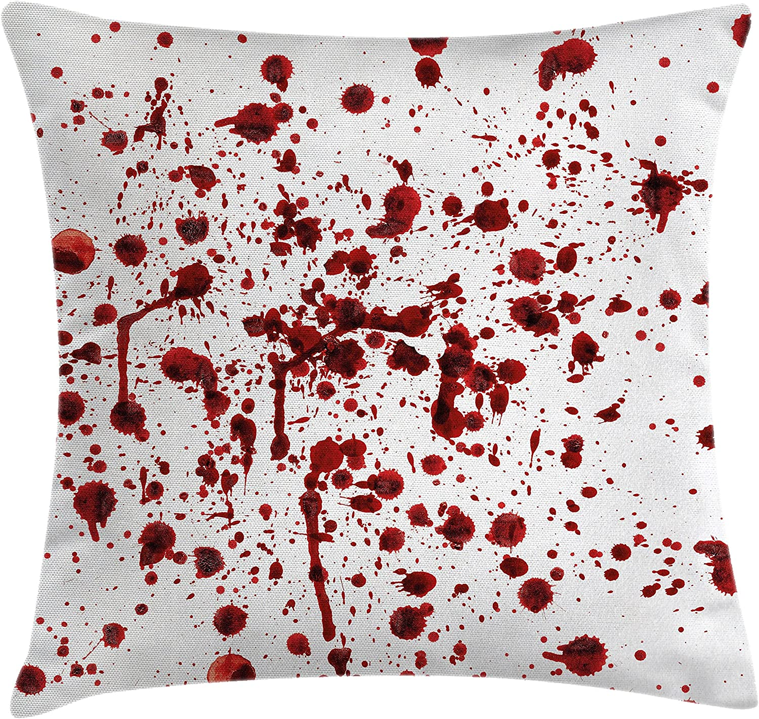 "Ambesonne Horror Throw Pillow Cushion Cover, Splashes of Blood Grunge Style Bloodstain Horror Scary Zombie Halloween Themed Print, Decorative Square Accent Pillow Case, 20"" X 20"", Red White"