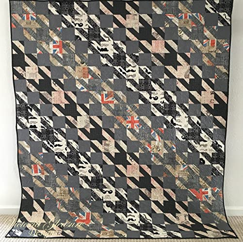 Amazon Houndstooth Pattern Quilt With London And Mustache