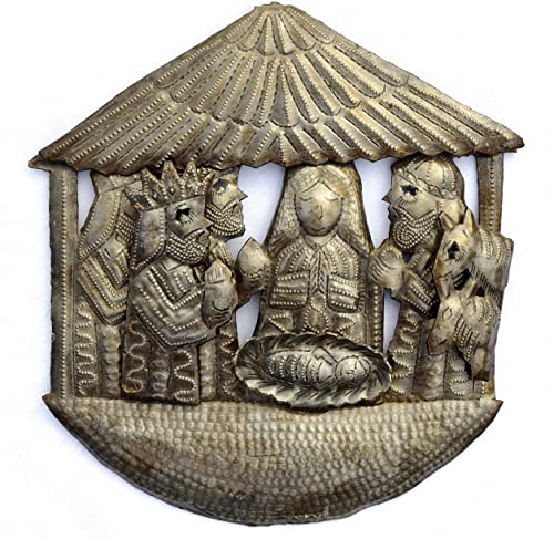 Nativity, Handmade, Ethnic, Haiti Metal Art, Creche, Christmas, Holiday Decor, 9.5 in. X 9.5 in.