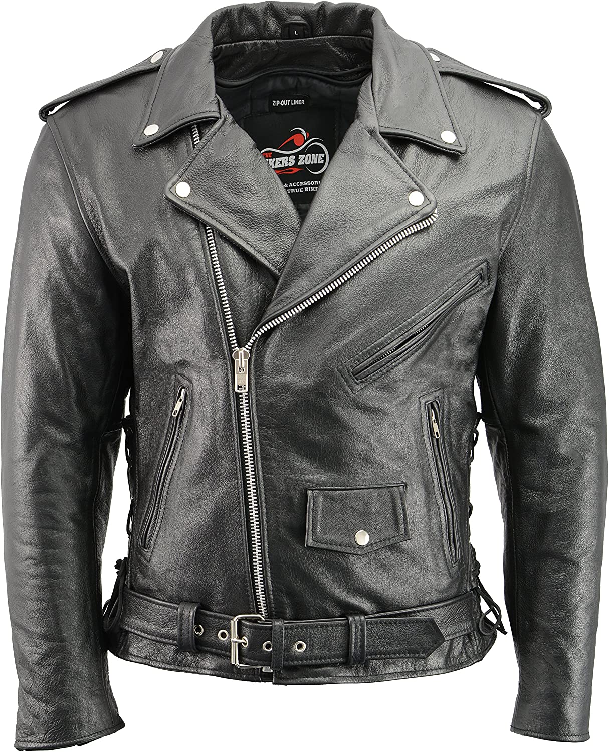 MEN/'S MOTORCYCLE CLASSIC MC JACKET LACE SIDE POLICE BIKER STYLE UPTO 11XL SIZE