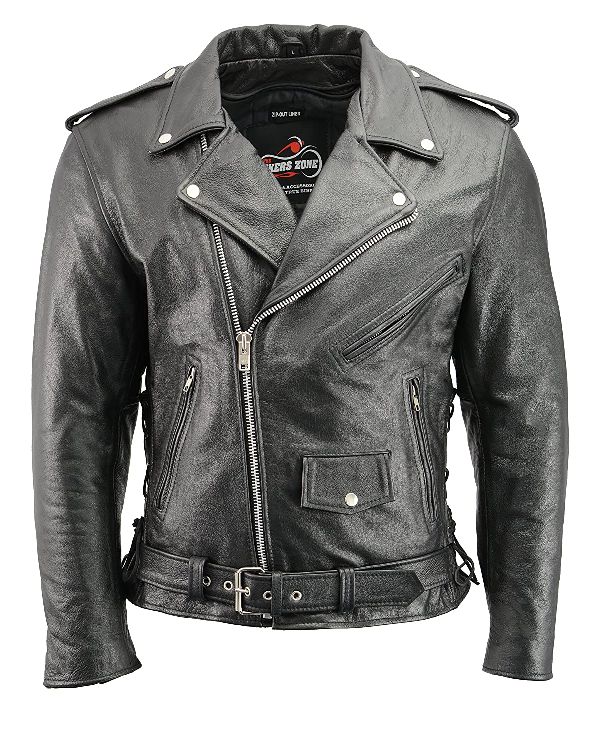 Amazon Com Men S Leather Motorcycle Jacket With Ce Certified Armor