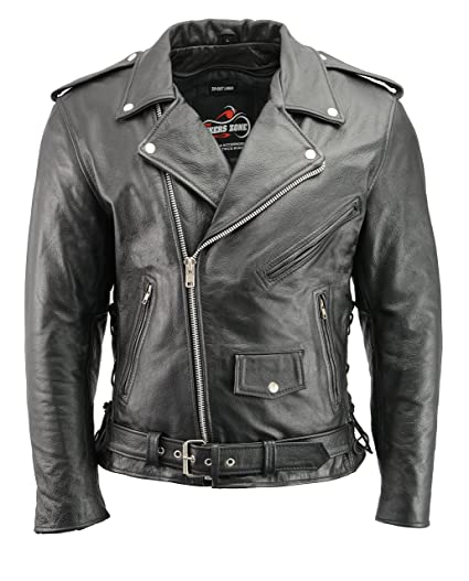 Mens Leather Motorcycle Jacket with CE Certified Armor | Premium Natural Buffalo Leather | 2 Concealed Carry Gun Pockets | Adjustable Side Lace Biker ...