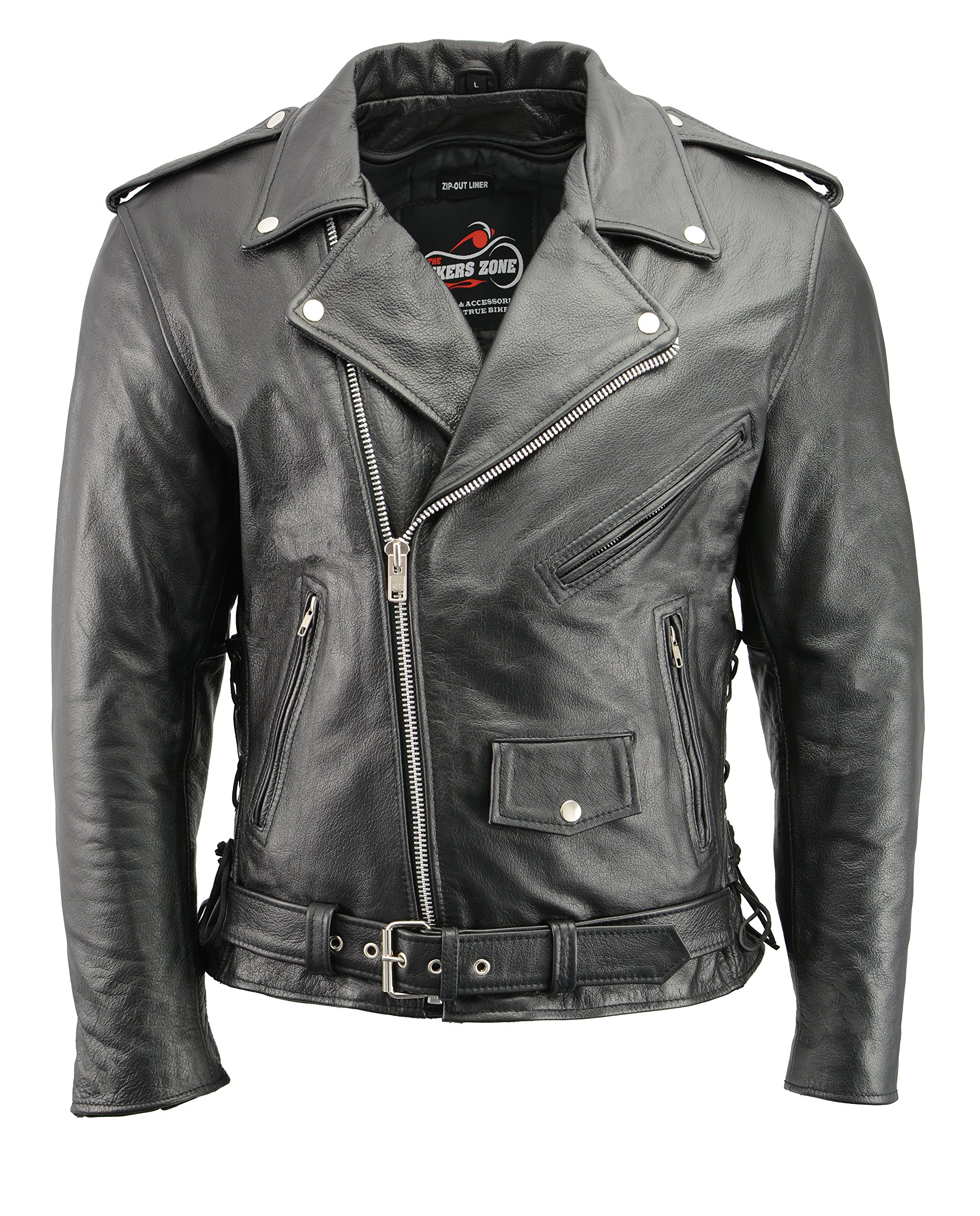 Men's Leather Motorcycle Jacket with CE Certified Armor | Premium Natural Buffalo Leather | 2 Concealed Carry Gun Pockets | Adjustable Side Lace Biker Jacket with Patch Access Lining (Black, 6XL)