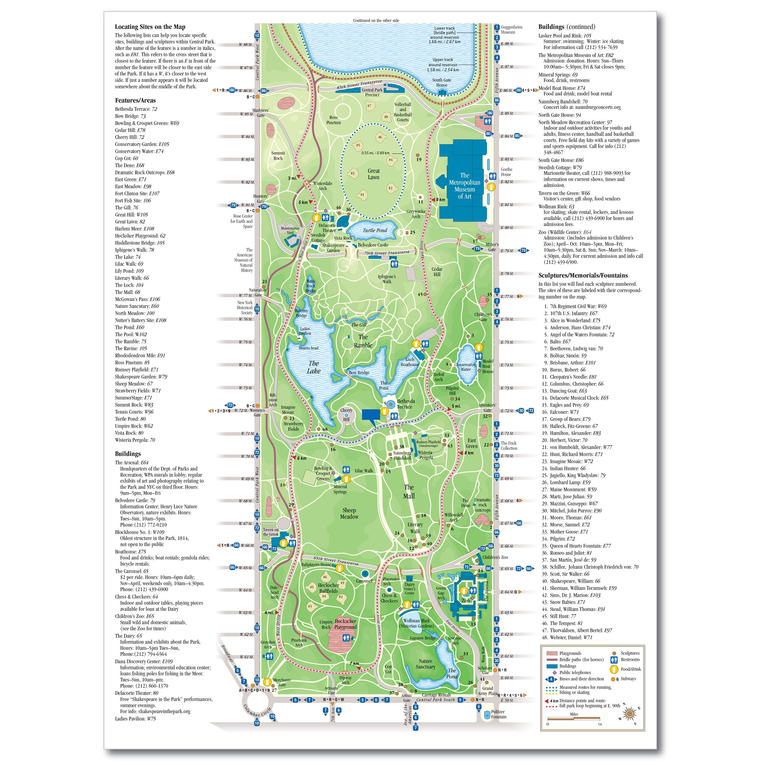 Map and Guide to Central Park, New York City, folding, pocket-sized Central Park Map on