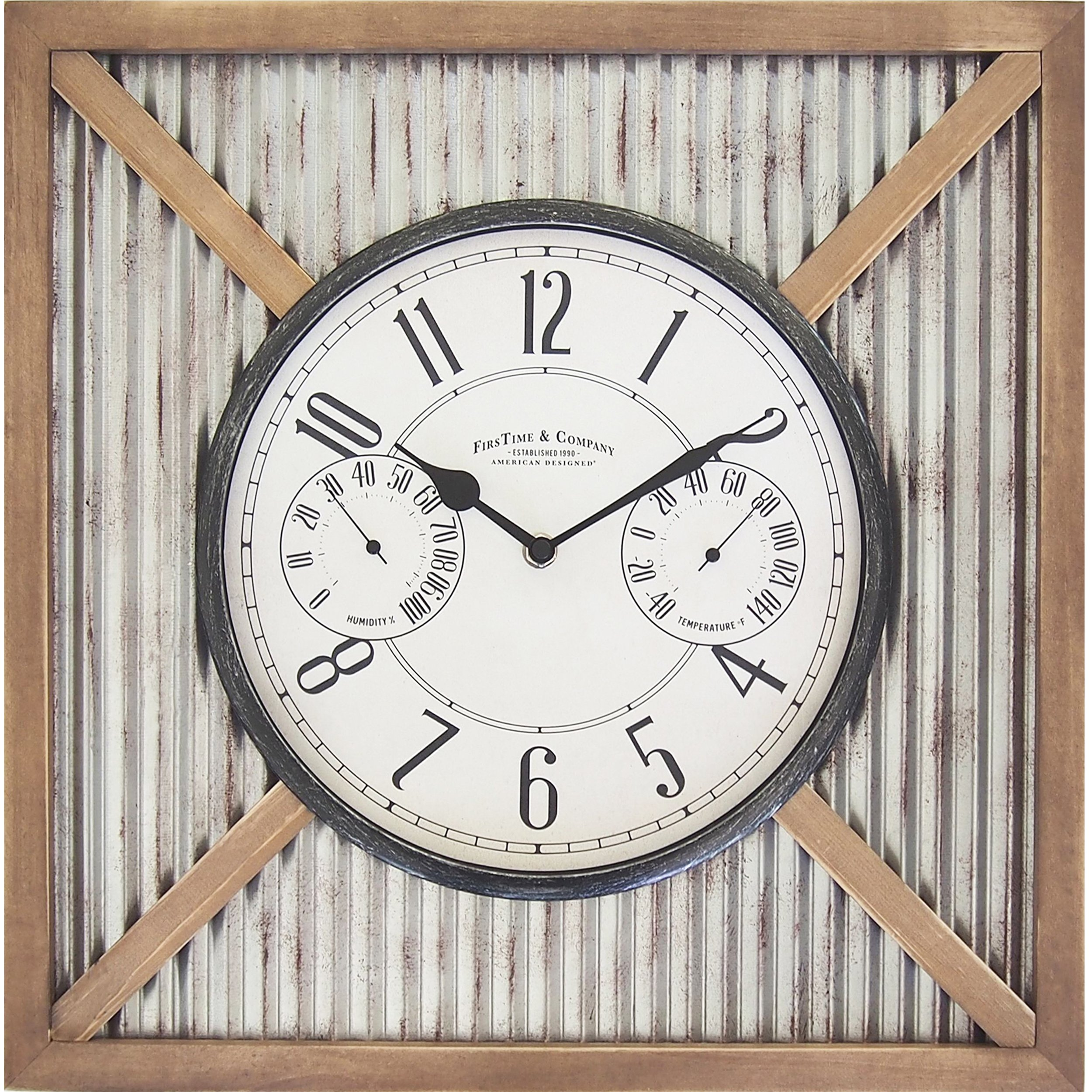 FirsTime 31037 Barn Outdoor Wall Clock, Natural Wood