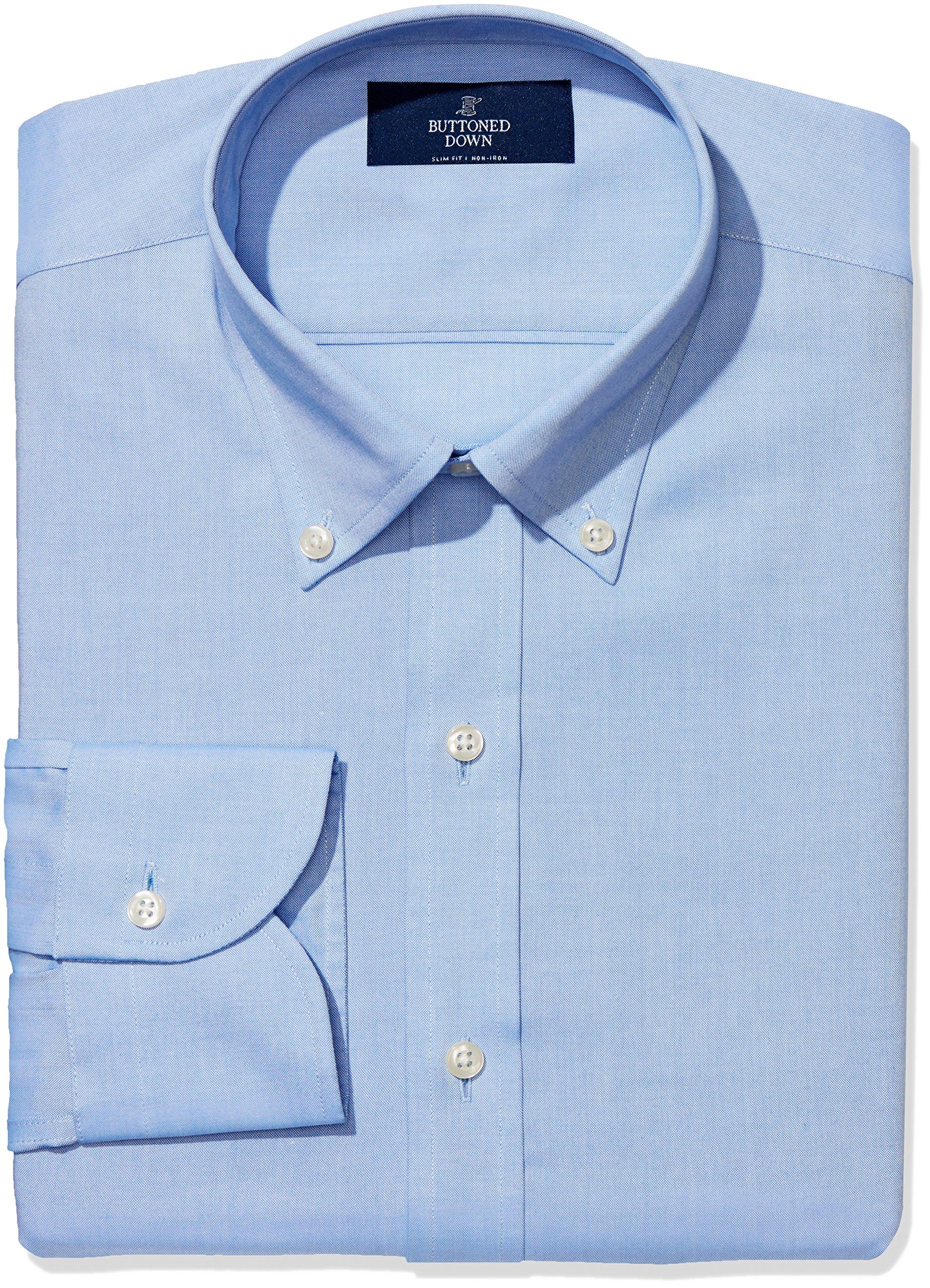 BUTTONED DOWN Men's Slim Fit Button-Collar Non-Iron Dress Shirt (No Pocket), Blue, 15.5'' Neck 36'' Sleeve