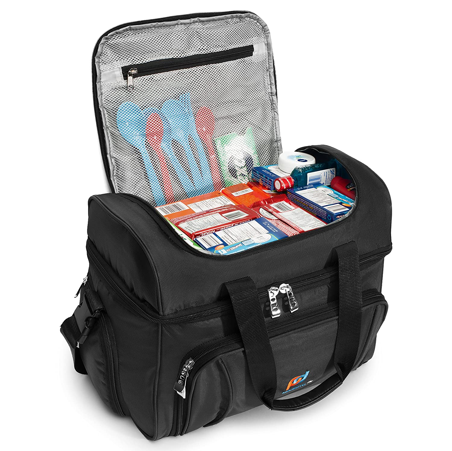 MOJECTO Cooler Bag-12x10x6.5-Inch.Two Insulated Compartments, Heavy Duty Polyester, High Density Insulation Hot or Cold , 2 Heat Sealed Removable Peva Liner, Many Pockets, Strong Double Zipper