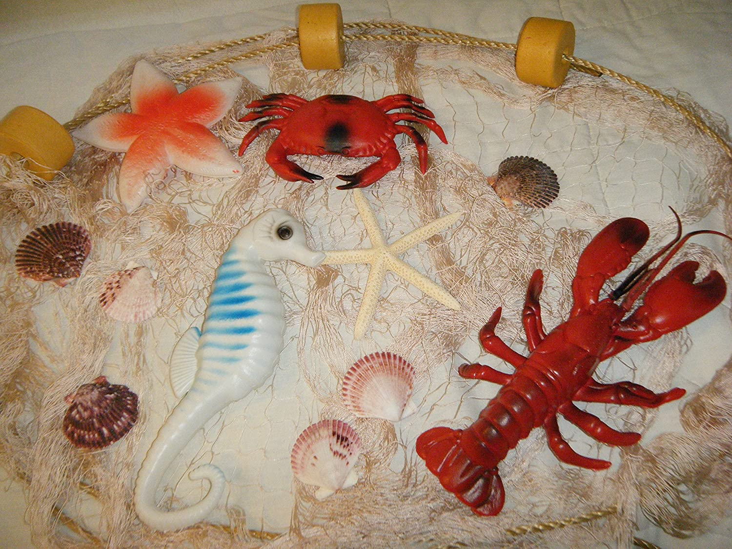 Tan Decorative Nautical Fish Netting with White Starfish, Scallop Shells, Floats, Lobster, Crab, Starfish, Seahorse