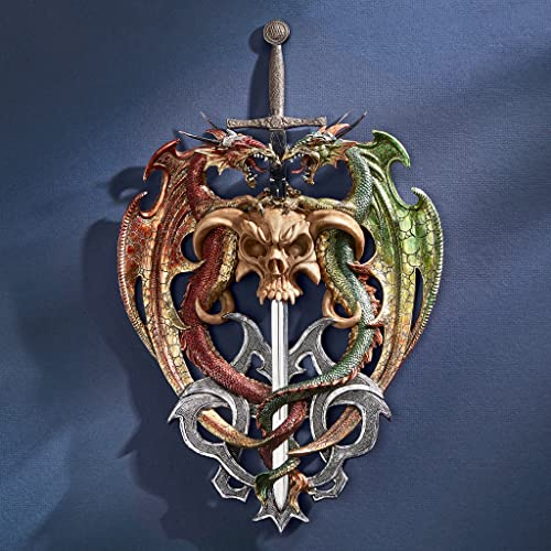 Design Toscano Hell-Bent Dragon Protectors of The Sword Gothic Wall Sculpture