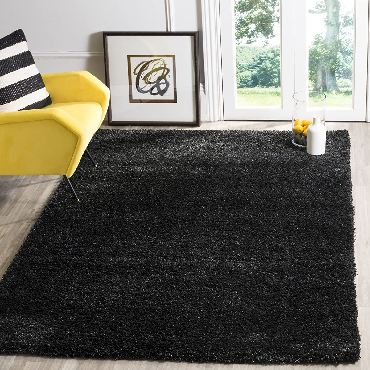 Safavieh California Premium Shag Collection SG151-9090 Black Area Rug (4 x 6)