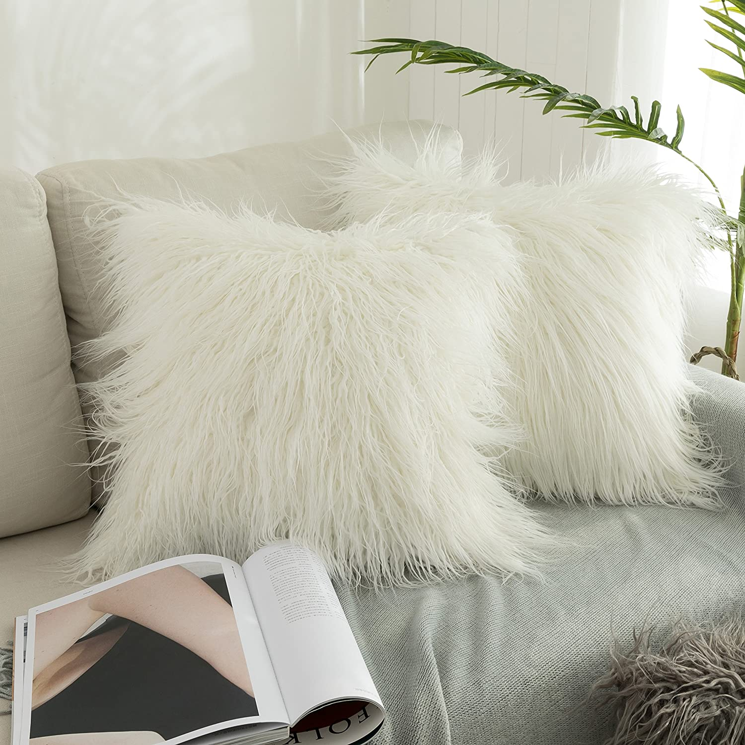 Merino Style Off-White Fur Throw Pillow Case Cushion Cover Pillow Cover for Bed