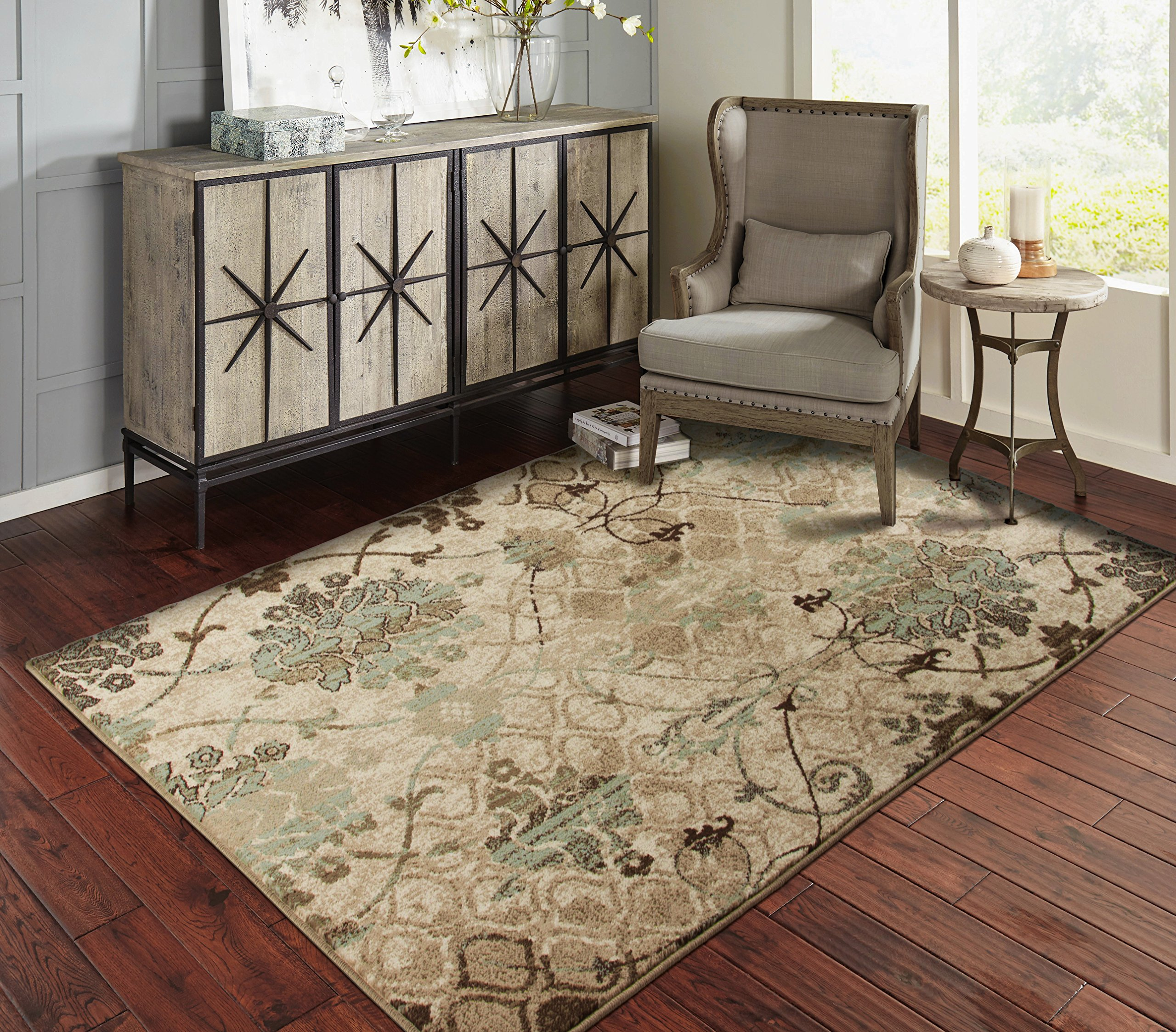 A.S Quality Rugs Modern Distressed Rugs for Living Room 5x7 Blue Clearance Rugs for Bedroom 5x8 by A.S Quality Rugs