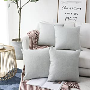 Home Brilliant Decor Woven Fine Burlap Lined Linen Pillowcases Cushion Covers for Sofa, Light Grey, Set of 4, 18 inch