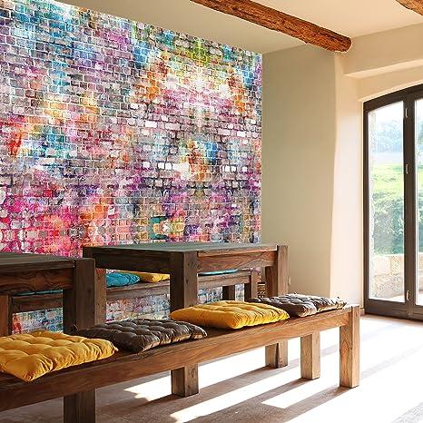 murimage Fototapete Steinwand 366 x 254 cm Kinderzimmer Steinwand Graffiti bunt Grunge Vintage Wall Art Jungen Grafitti Tapet