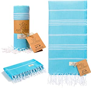 Zaza Towels % 100 Cotton Turkish Towel [35x70] X-Large Beach, Pool, Yoga, Picnic, Hammam - Quick Dry, High Absorbency - Eco Friendly Soft Decorative Bath Towels for Gym, Sauna, Face (Baby Blue)