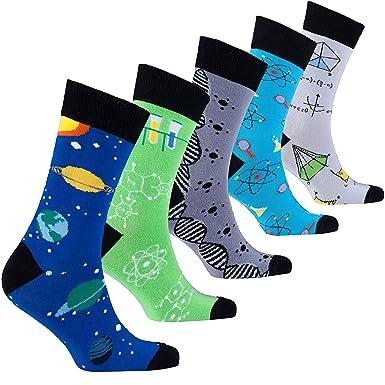 Socks n Socks Männer 5 Paar Luxus Spaß Cool Bunte Baumwollsocken Geschenkbox Einheitsgröße Science