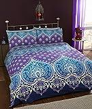 Asha Saphire indiano design set copripiumino e 2federe, letto king, colore: Blu/Viola