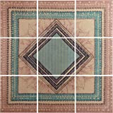 "Amazon Brand – Stone & Beam Modern 9-Piece Green and Brown Geometric Print Mural on Wood, 36"" x 36"""