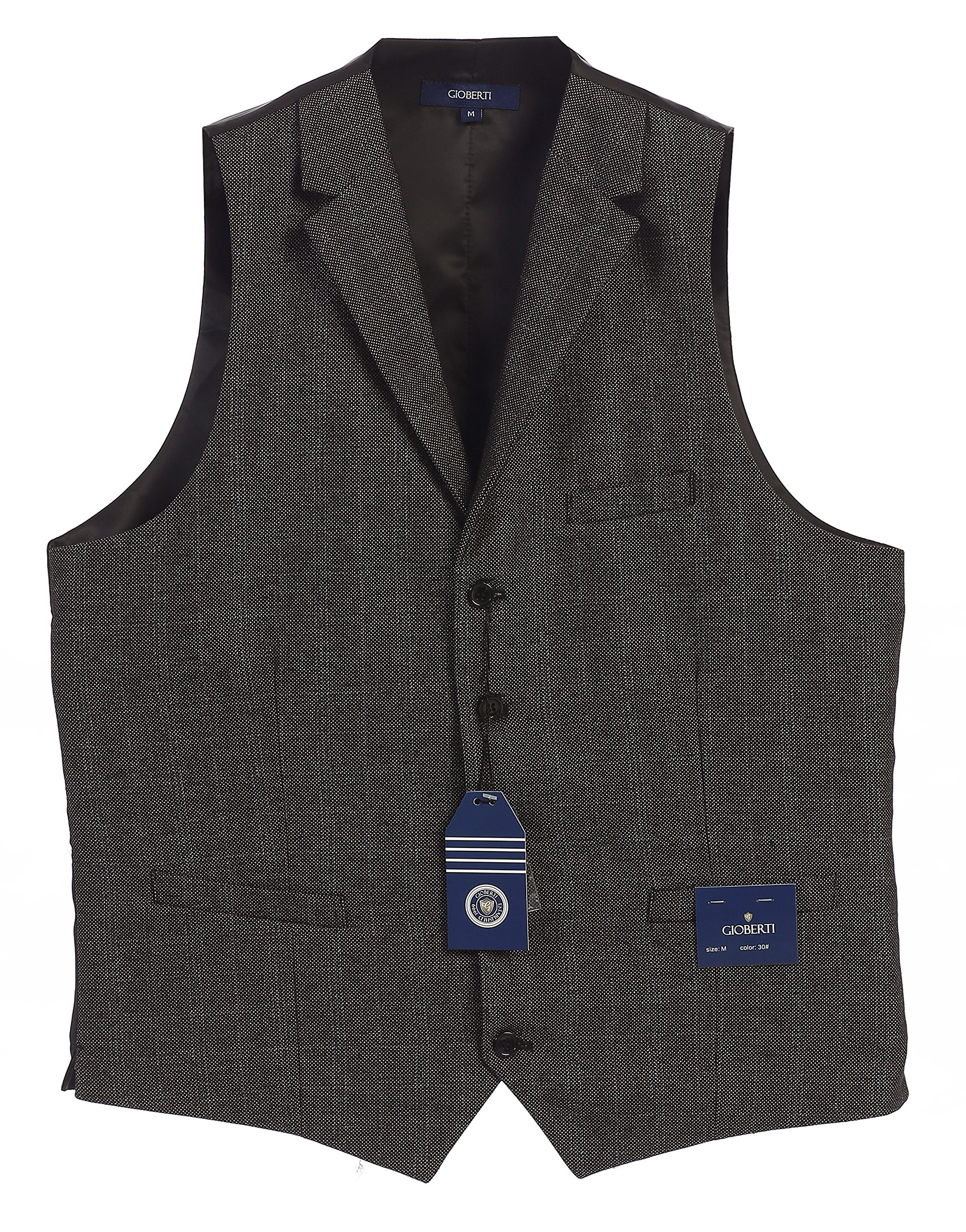 Gioberti Men's 5 Button Tailored Collar Formal Tweed Suit Vest, Gray barleycorn, X Large