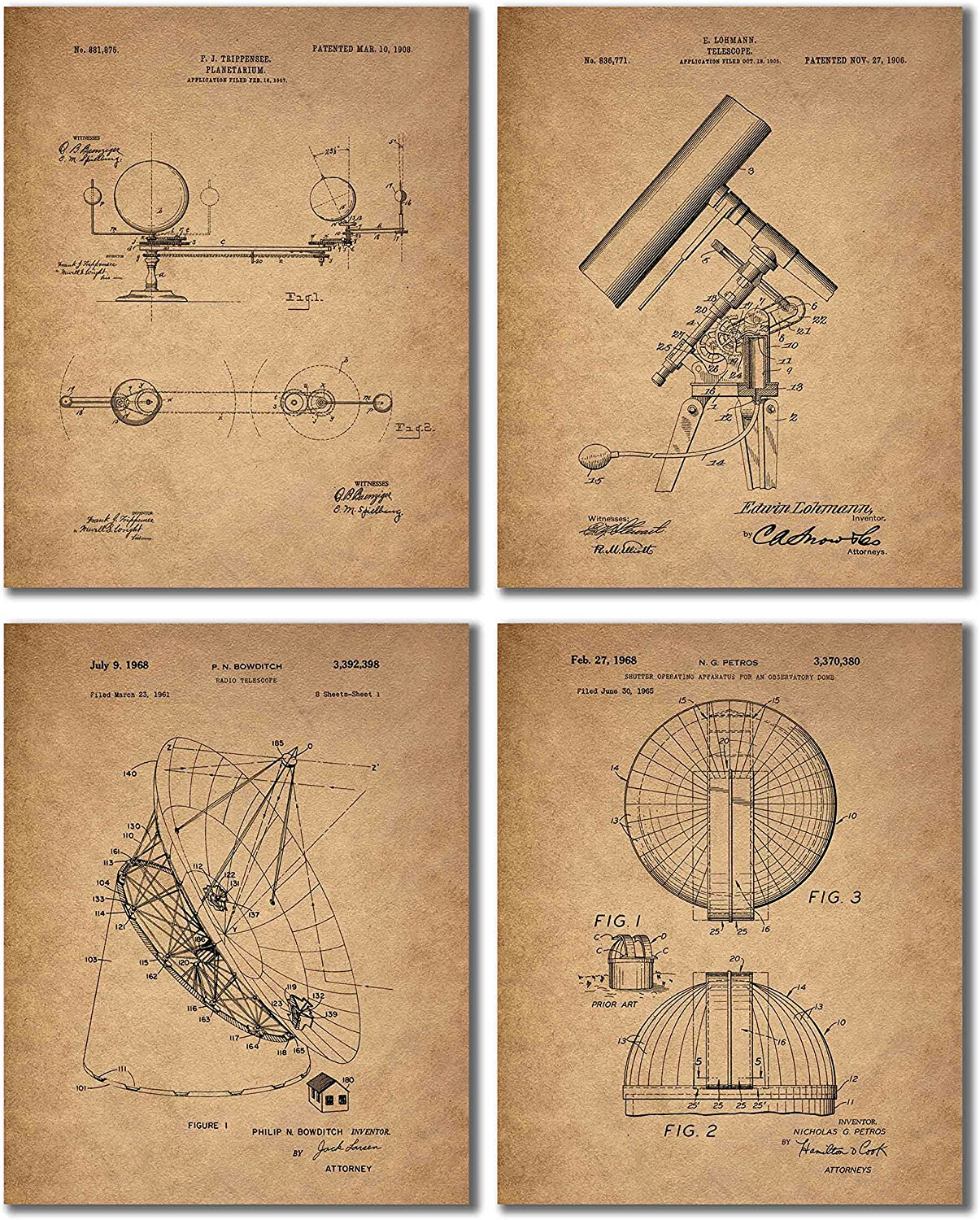 Astronomy Patent Prints - Set of 4 (8 inches x 10 inches) Vintage Wall Art Decor Photos