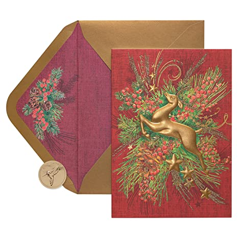 papyrus reindeer boxed holiday cards 12 count