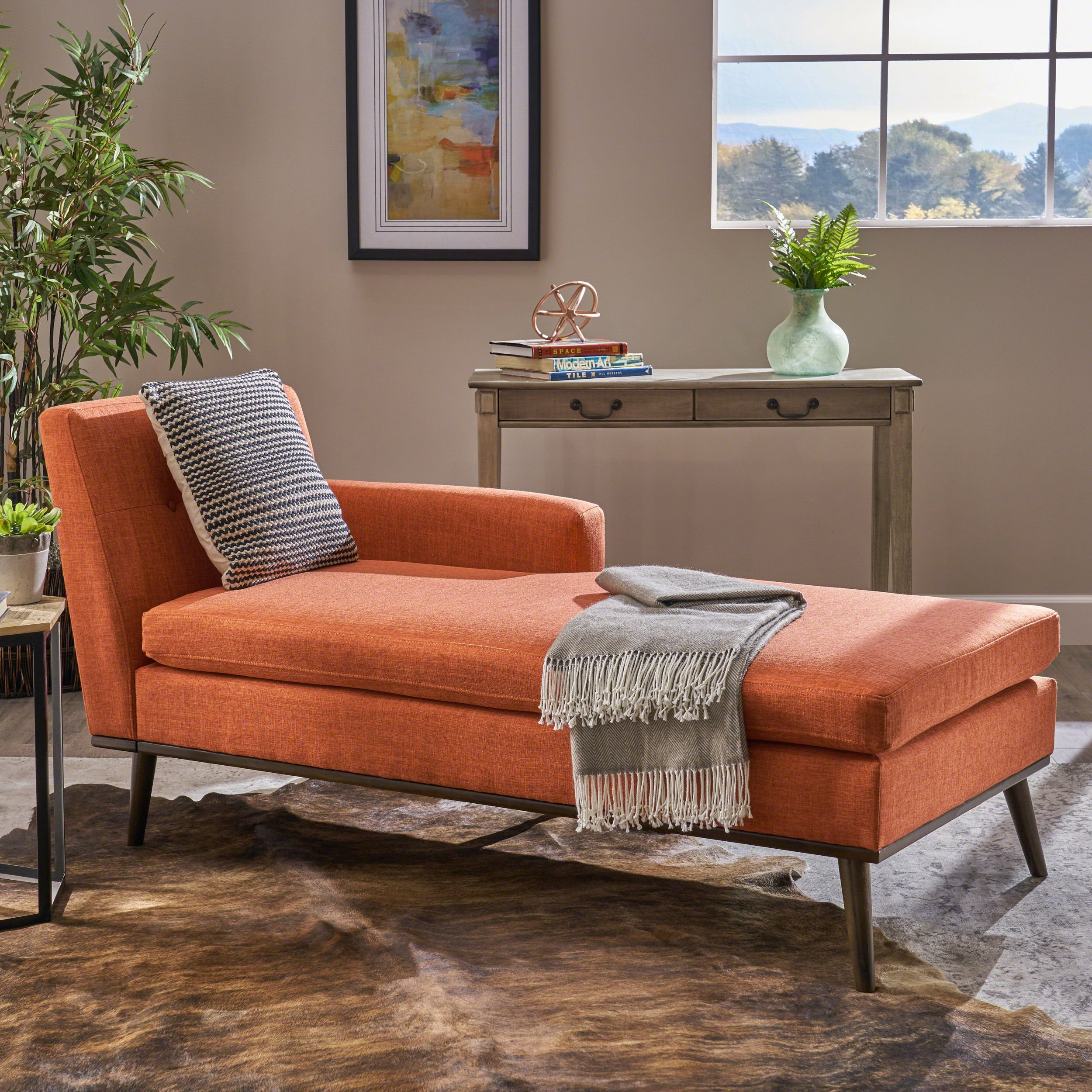 Christopher Knight Home Sophia Mid Century Modern Fabric Chaise Lounge, Muted Orange/Walnut by Christopher Knight Home