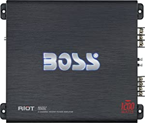 BOSS Audio Systems R6002 - Riot 1200 Watt, 2 Channel, 2 4 Ohm Stable Class AB, Full Range, Bridgeable, Mosfet Car Amplifier with Remote Subwoofer Control