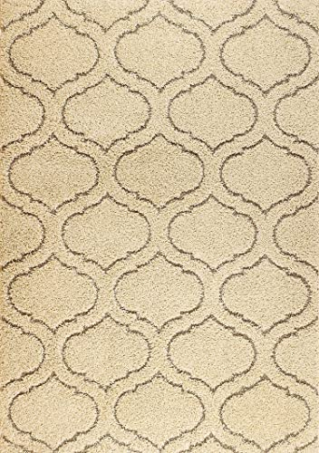 Lorena Shag Collection Cream Moroccan Trellis Shaggy Area Rug 7 .5 X 10