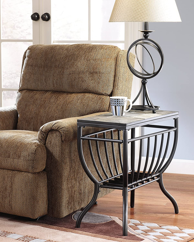 Ashley slate coffee table - Amazon Com Ashley Furniture Signature Design Antigo Chair Side End Table Contemporary Slate Top With Metal Bottom Black Kitchen Dining