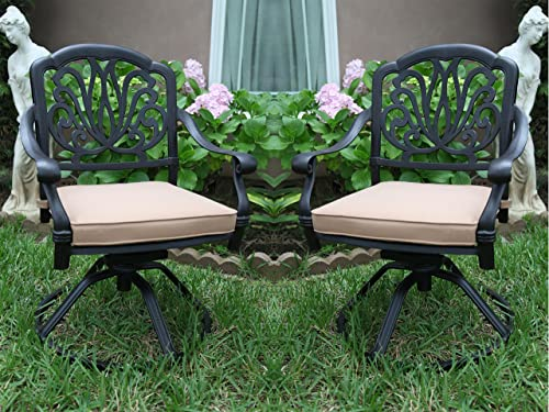 2 CBM Elisabeth Collection 2 Cast Aluminum Swivel Rockers with 2 Cushions