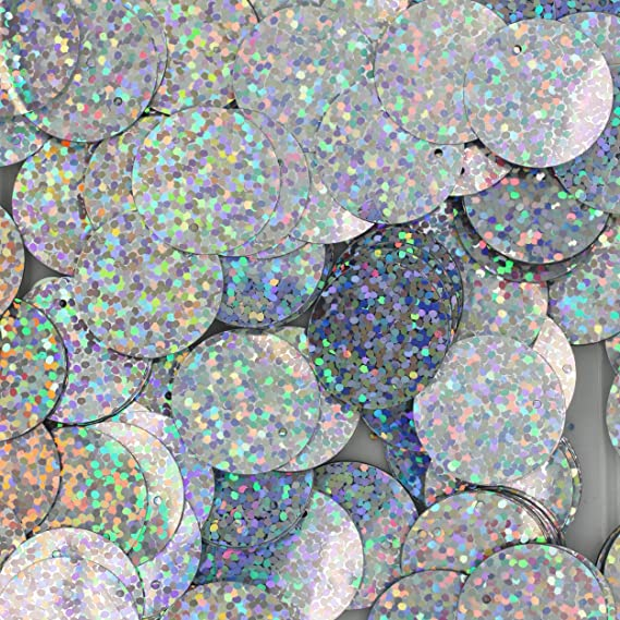 Arts and Embellishment Applique Silver holografic Loose Sequins Round Couture Sequin Paillettes for Embroidery Crafts 40mm Bridal
