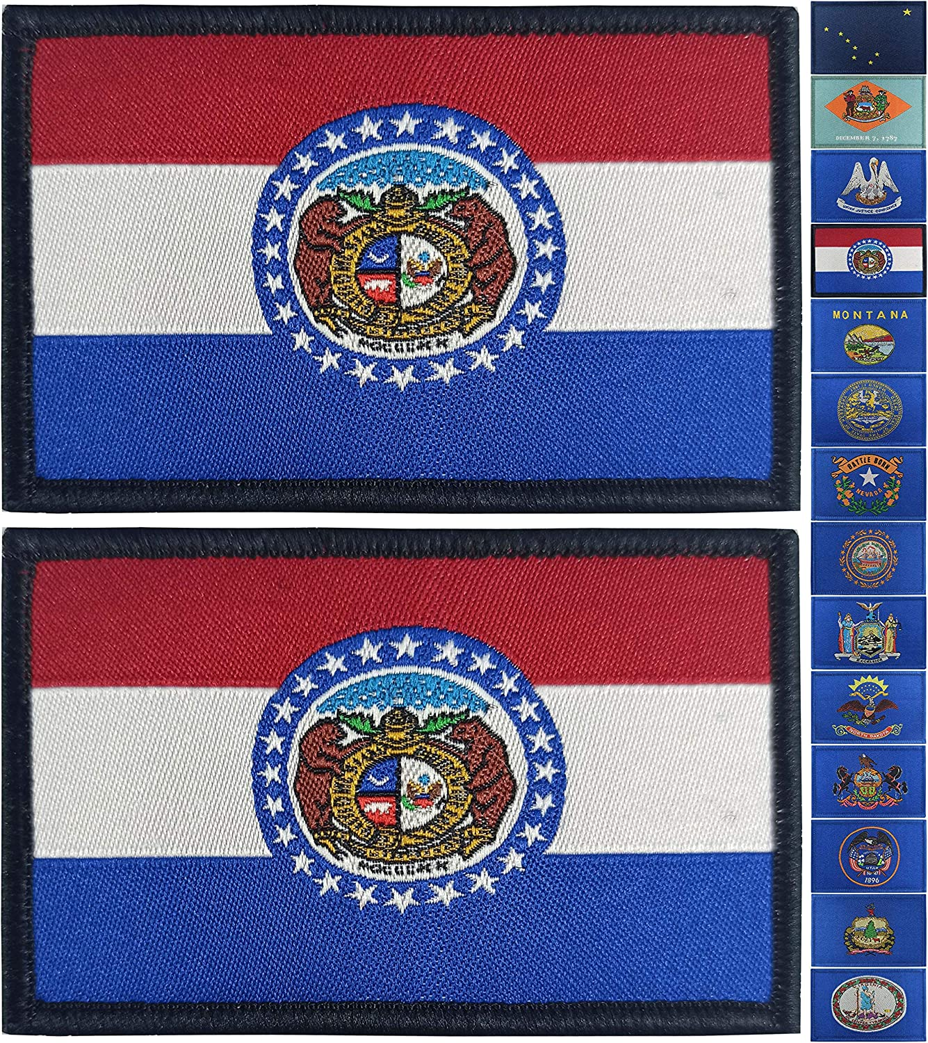 JBCD 2 Pack Missouri Flag Patch States Flags Tactical Patch Pride Flag Velcro Patch for Clothes Hat Patch Team Military Patch