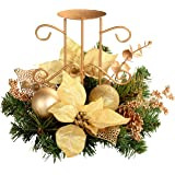 Cream & Gold Decorated Table Centre Piece with Single Pillar Candle Holder Christmas Decoration - Size 22cm